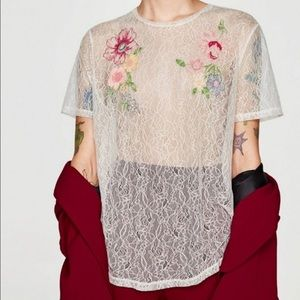 Zara | Floral Embroidered Lace Tee M